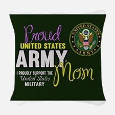 Proud Army Mom Seal Green Woven Throw Pillow