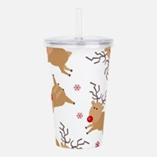 Cute Reindeer Holiday Pattern Acrylic Double-wall