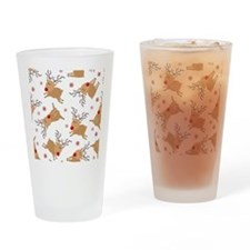 Cute Reindeer Holiday Pattern Drinking Glass