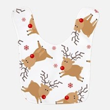 Cute Reindeer Holiday Pattern Bib