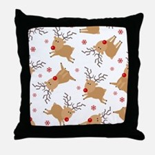 Cute Reindeer Holiday Pattern Throw Pillow