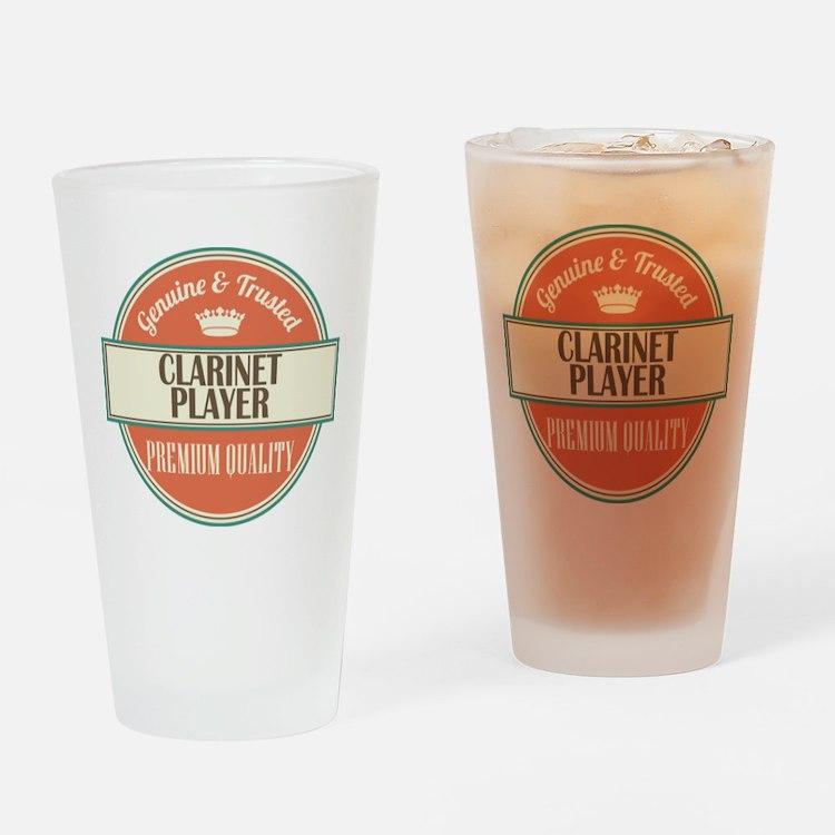 clarinet player vintage logo Drinking Glass