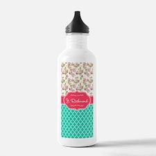 Pink Rose Flowers Teal Water Bottle