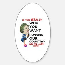 ANTI Hillary on Cell Phone Sticker (Oval)