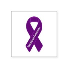 "Cute Purple ribbon Square Sticker 3"" x 3"""