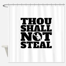 Thou Shall Not Steal Baseball Catcher Shower Curta