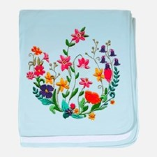 Embroidered Spring Flowers baby blanket