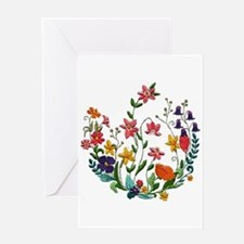 Embroidered Spring Flowers Greeting Card