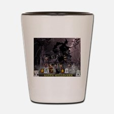 Spidery Witches Haunted House Shot Glass