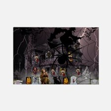 Spidery Witches Haunted House Magnets
