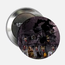 "Spidery Witches Haunted House 2.25"" Button (10 pac"
