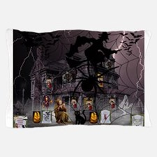 Spidery Witches Haunted House Pillow Case