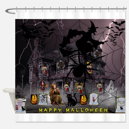 Spidery Witches Haunted House Shower Curtain