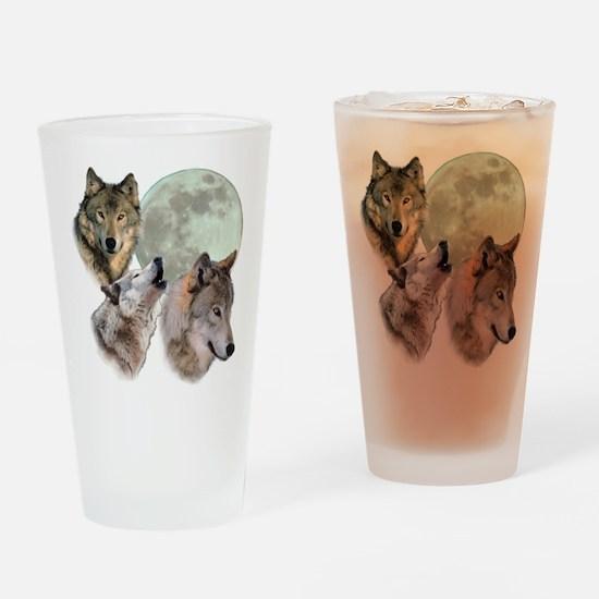3 Wolf Moon Drinking Glass
