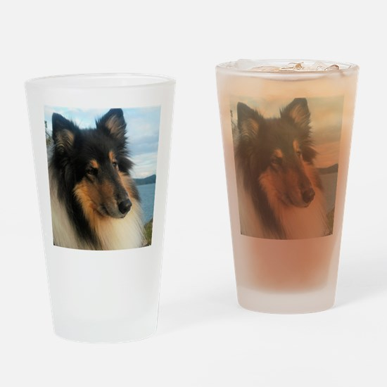 Collie by the Ocean Drinking Glass