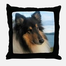 Collie by the Ocean Throw Pillow