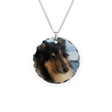 Collie by the Ocean Necklace Circle Charm