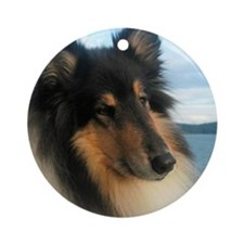 Collie by the Ocean Round Ornament