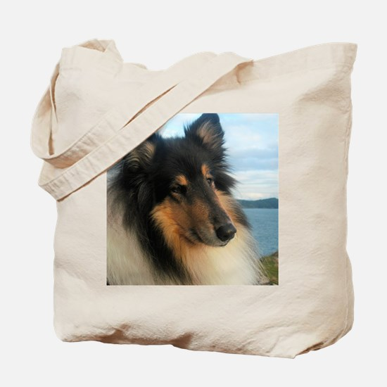 Collie by the Ocean Tote Bag