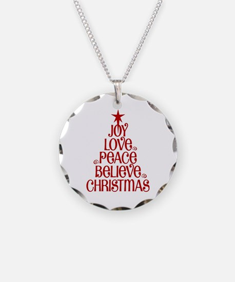 Joy Love Peace Believe Christmas Word Tree Necklac