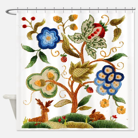 Tree of Life Embroidery Shower Curtain
