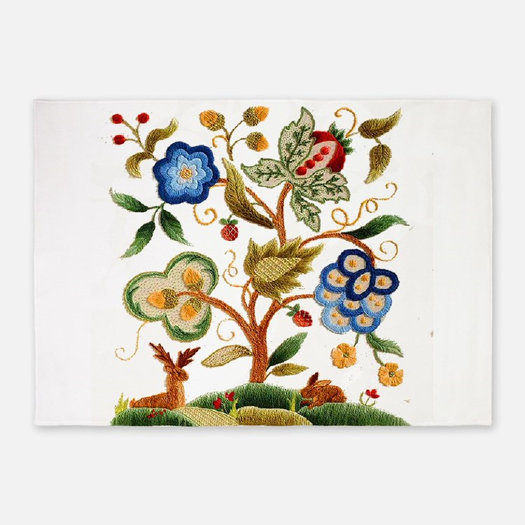 Tree of Life Embroidery 5'x7'Area Rug