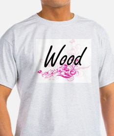 Wood surname artistic design with Flowers T-Shirt