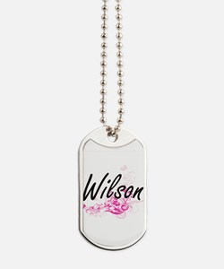 Wilson surname artistic design with Flowe Dog Tags