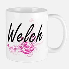 Welch surname artistic design with Flowers Mugs