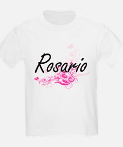 Rosario surname artistic design with Flowe T-Shirt