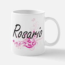 Rosario surname artistic design with Flowers Mugs