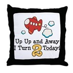 2nd Birthday Airplane Throw Pillow
