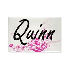 Quinn surname artistic design with Flowers Magnets