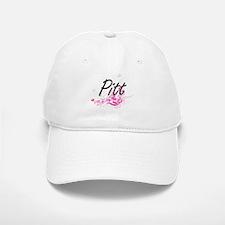 Pitt surname artistic design with Flowers Baseball Baseball Cap