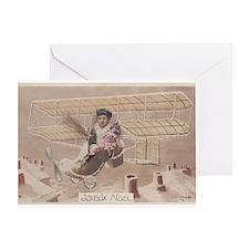 Christmas Boy Fly Airship Vintage Greeting Card