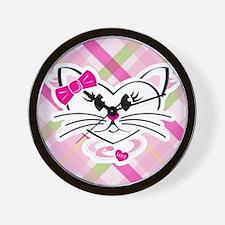 HeartKitty Plaid Love Cat Wall Clock