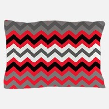 Red Black Gray and White Zigzags Pillow Case