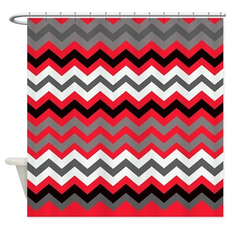 Red Black Gray And White Zigzags Shower Curtain By