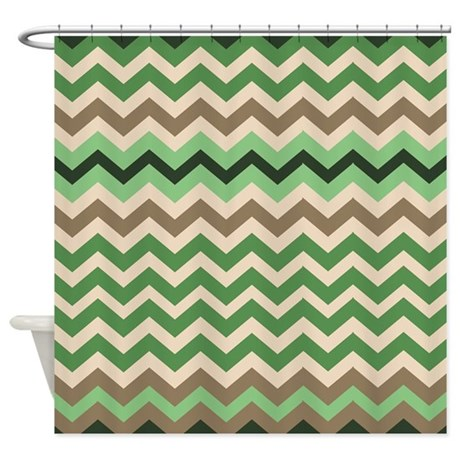 Forrest Green And Tan Chevron Mix Shower Curtain By