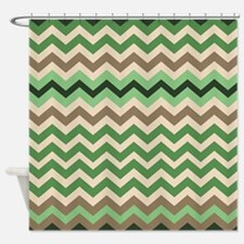 Green And Brown Striped Shower Curtains