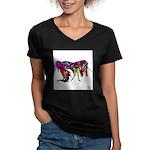Rainbow Unicorn<br> Women's V-Neck Dark T-Shirt