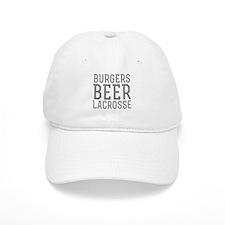 Burgers Beer Lacrosse Baseball Cap