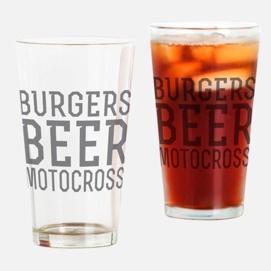 Burgers Beer Motocross Drinking Glass