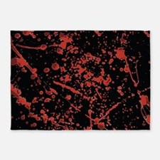 Blood Splatter on black 5'x7'Area Rug