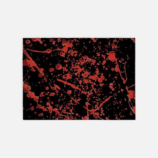 Blood Splatter on black 5'x7'Area Rug