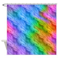 Blue Wavy Pattern Shower Curtain