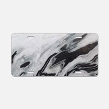 modern black white marble Aluminum License Plate