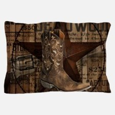 grunge cowboy boots western country Pillow Case