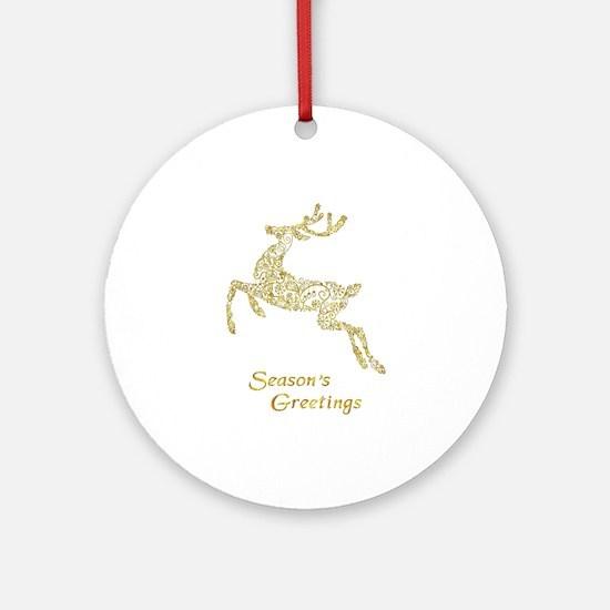 Filigree Metallic Christmas Reindee Round Ornament
