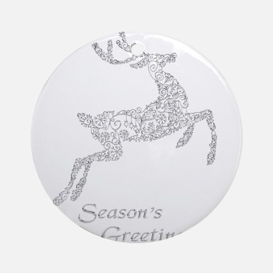 Filigree Metallic Christmas Reindee Round Ornament